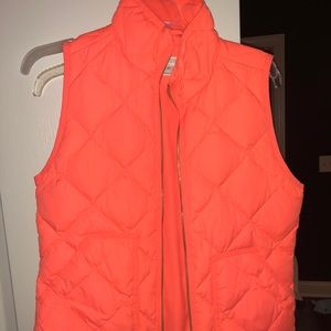 J. Crew vest. Bright coral/orange XS never worn